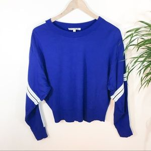 Express One eleven blue cropped sweatshirt